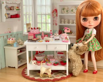 1:6 Scale Baking Table Barbie Blythe Size Kitchen Diorama