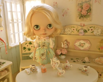 Miniature Blythe Barbie 1:6 Scale Size Tea Set