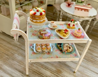 Tea Cart Miniatures Handmade Artisan