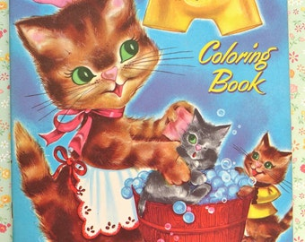Vintage Play Day Cute Kittens Coloring Book Circa 1950 Mint Unused Uncirculated