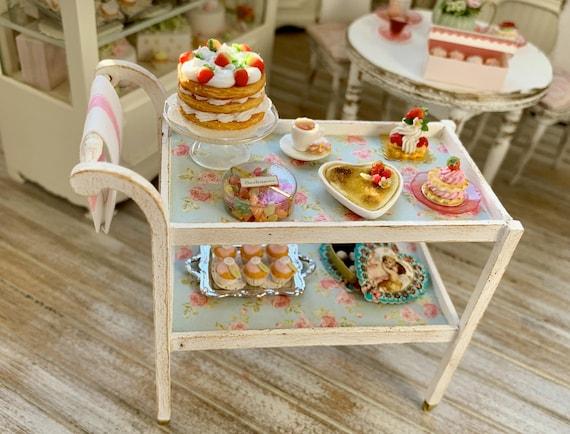 Tea Cart Miniatures Handmade Artisan