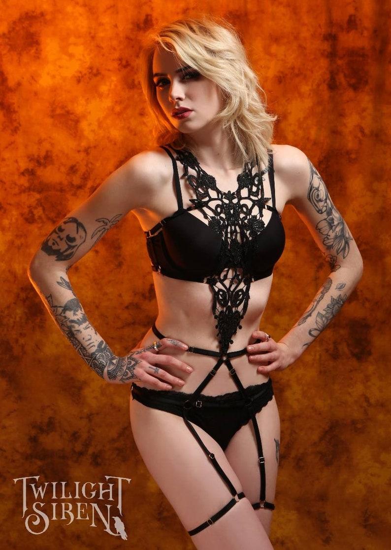 a1e534cd5c4 LACE BODY HARNESS playsuit   Mimi lace frame bra   adjustable