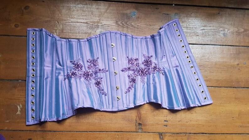 SALE underbust corset ready to ship purple silk /& lace steel boned corset  20 inch waist  uk 6-8