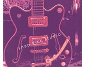 Groovy Old Concert Poster Style Guitar Art Print
