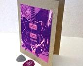Silkscreen Style Purple Gretsch Electric Guitar Blank Greeting Card