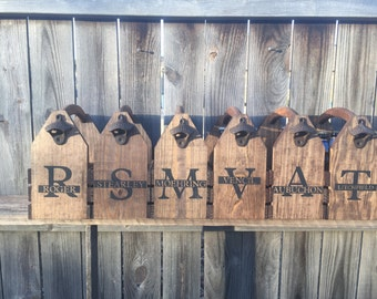 Seven (7) Personalized Rustic 6-pack beer bottle carrier 12 oz longnecks wood six pack homebrew tote new gift wedding groomsman birthday