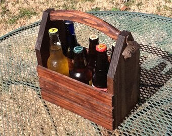 Rustic 6-pack beer bottle carrier 12 oz longnecks wood homebrew microbrew tote new gift wedding groomsman birthday fathers valentines \day