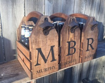 3 Groomsmen gift wedding Personalized Rustic 6-pack beer bottle carrier 12 oz longnecks wood six pack homebrew tote new birthday fathers day