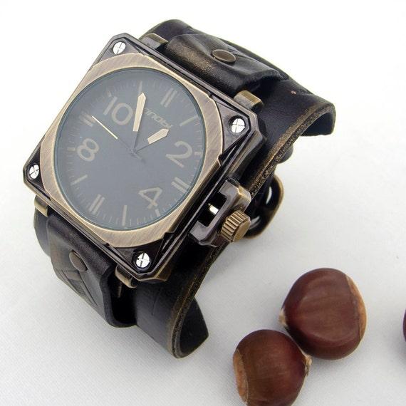 nueva productos calientes cómo hacer pedidos elegante y elegante Reloj de cuero, reloj brazalete para hombre cuero, cuero militar ejército  Sport cuero cuarzo reloj de pulsera