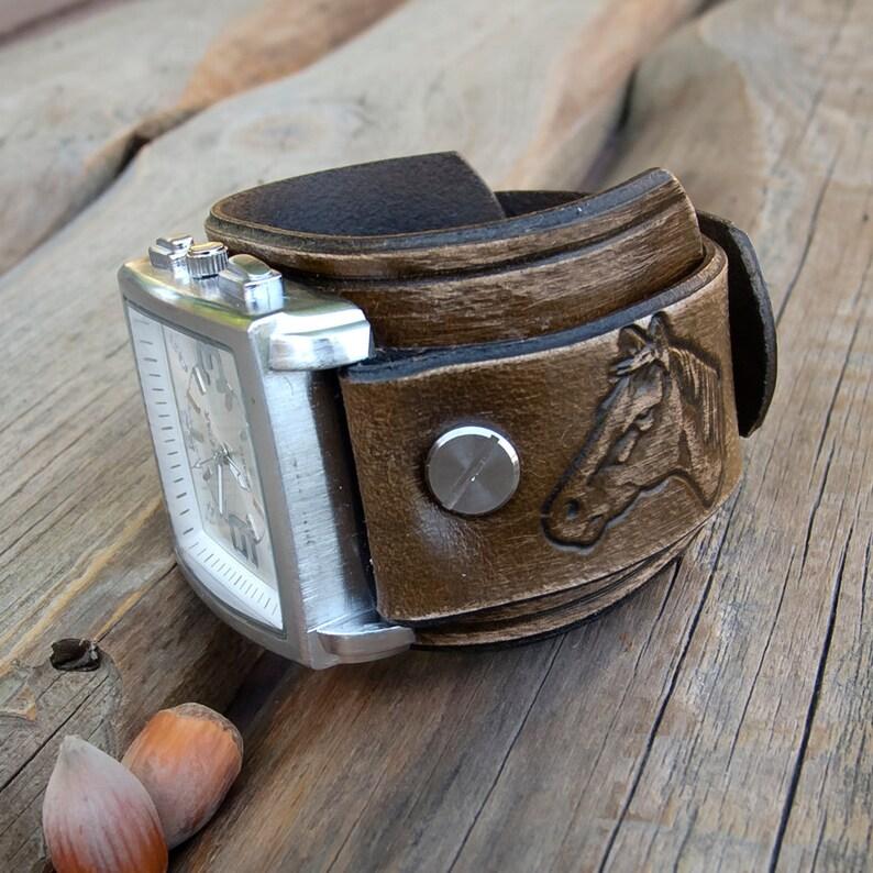 9a3a6dd09917 Reloj brazalete de cuero reloj de cuero para hombre reloj de