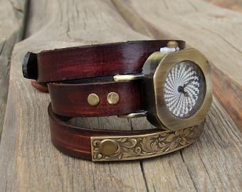 Women's leather watch, Women wrist watch, Wrap around watch, Watch with Brass Floral Embossed Bar