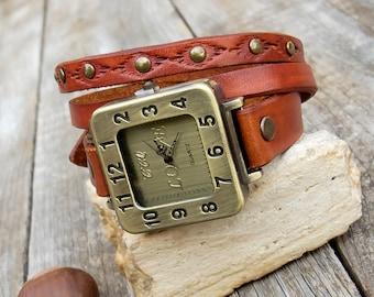 Leather wrist watch, Woman wrist watch, Wrap around watch,  Unique squere retro watch for woman