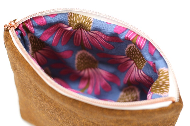 notions bag Essex linen zipper pouch gift for crafter Anna Maria Horner echinacea bag pencil pouch handmade holiday gift