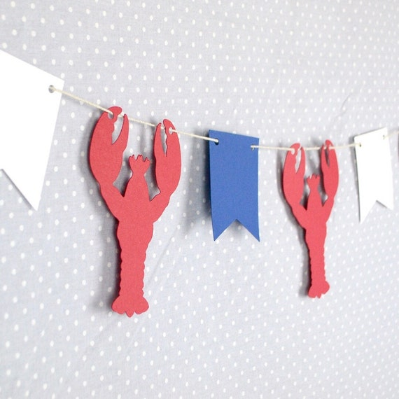 Lobster Paper Garland 6 Ft Lobster Party Decor Maine Party