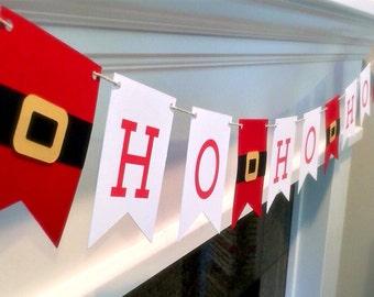 Santa - HO HO HO christmas Paper Garland  Red and White