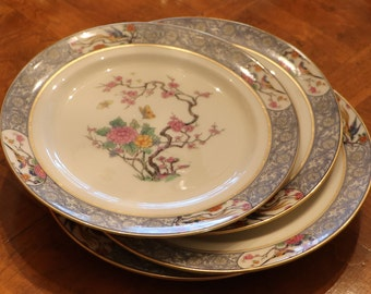 Ming Pattern with Black Stamp On Sale Lenox Fine China 10 inch Dinner,Chop Plate Birds,Floral,Scroll On Cream  Elegant Dining