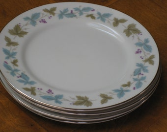 """Set of Four Dessert Bread Wedding Cake Plates - Aqua, Purple and Green Grapes and Leaves (MSI """"Vintage 6701"""")"""