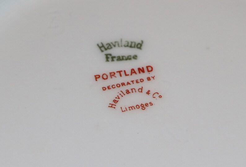 Limoges France Portland Pattern Pink Floral Gold Trim China Round Handled Serving Bowl Haviland Theodore