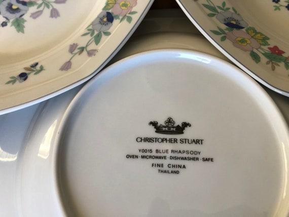 Christopher Stuart Blue Rhapsody Set of Four Rimmed Soup Bowls