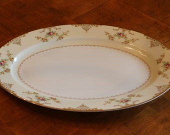 "Meito Hand-Painted Vintage China ""Aristocrat"" Pattern V2069 Small Oval Serving Platter"