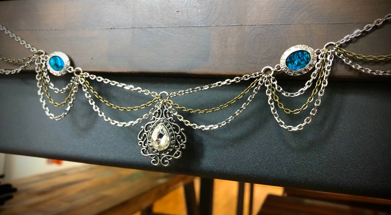 One of a kind hairpiece with deep blue accents Atlantic Mermaid crown Ready to clip on!