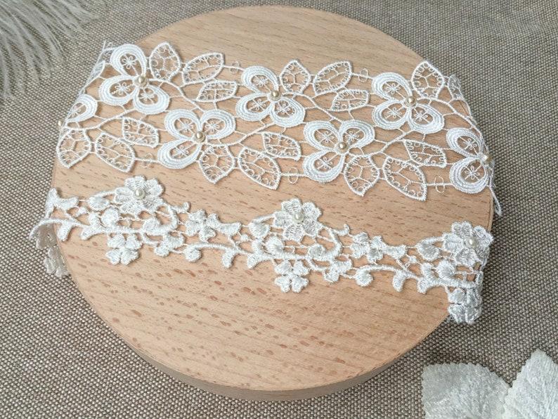 Bridal garter wedding set Garter keepsake lace Wedding garter lace ivory Floral garter ivory pearl Garter pearl lace