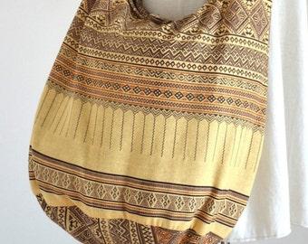 Ivory Hobo Bag Bohemian Ethnic Bag Cotton Shoulder Bag Crossbody Bag Boho Bag Sling Bag Hippie Bag Messenger Bag Hmong Zipper Purse