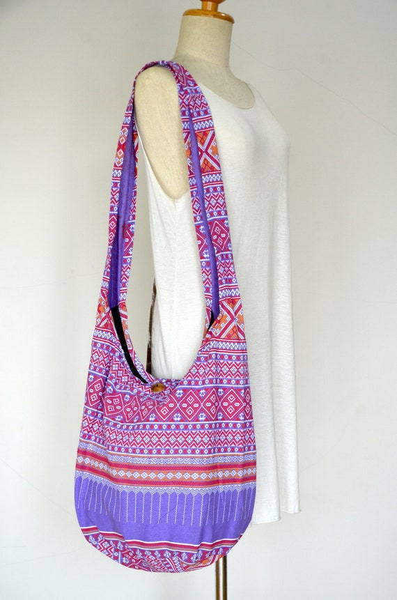 Messenger Hobo Bag Umhängetasche Hmong Baumwolle Ethno Schultertasche Lila Tasche Orchidee Hippie Sling Boho ZkXTPuwOi