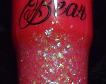Handmade Mama Bear Hot Pink and Glitter 30 ounce tumbler Ready to Ship
