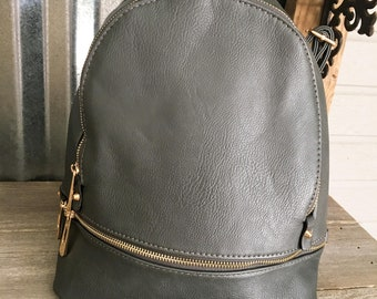 beec8daa3a18 Backpack Handbag GRAY Vegan Leather Backpack with Monogram