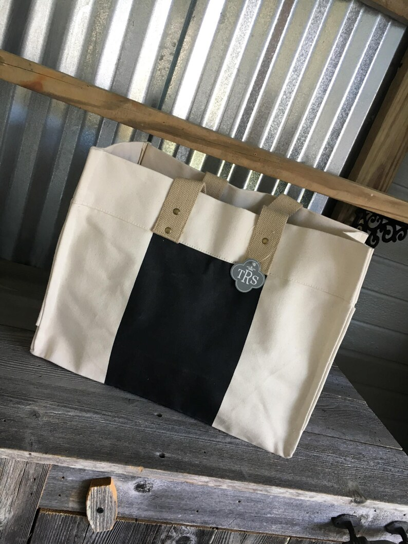 CLOSEOUT SALETote BagCanvas Utility BagCanvas Color Block Black and Natural Utility Bag with Monogram