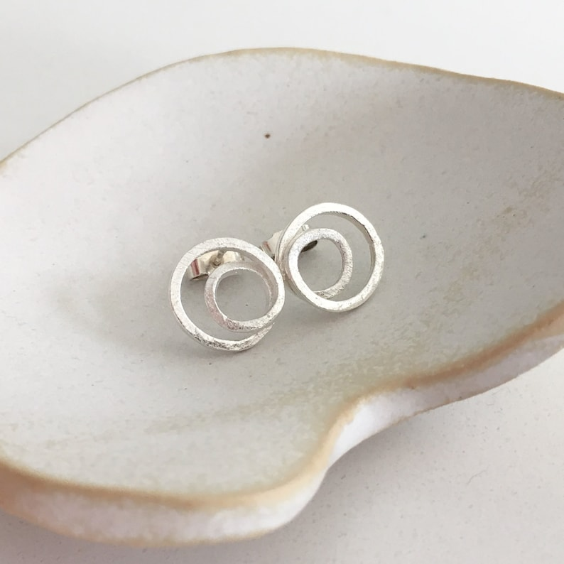 Twisted closed spiral silver studs image 0
