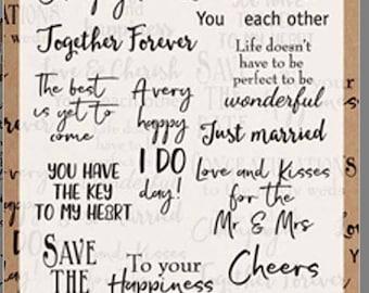 Marianne design clear stamp set Wedding sentiments words CS0999