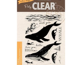 Hero Arts Poly Clear Stamp Set Color Layering Blue Whale