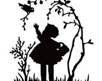 Hobby Solution Embossing Folder - Little Girl with Bird