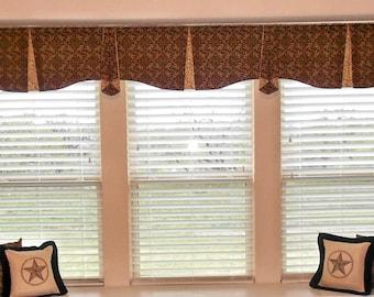 "Custom Wide Width Window Valance MAISON Hidden Rod Pocket® Valance 91""- 124"" window, Created using your fabrics, my LABOR and lining"