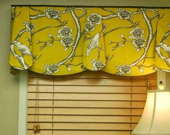 """Custom Window Treatment PEYTON Hidden Rod Pocket Valance fits 32""""- 46"""" window, Made to  order with your fabrics, my LABOR and lining"""