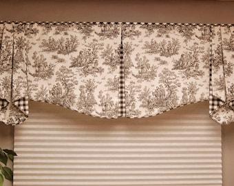 "Custom Valance MAISON Hidden Rod Pocket® Valance 30""- 44"" window, Custom made using your fabrics, my LABOR and lining"