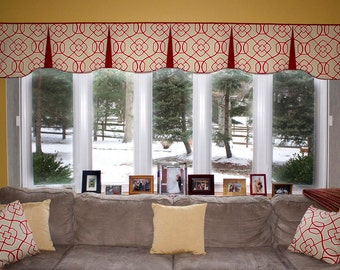 """Custom Wide Width Pleated EMILEE  Hidden Rod Pocket Valance fits 81""""- 108"""" window, LABOR and lining only, you provide the fabrics"""