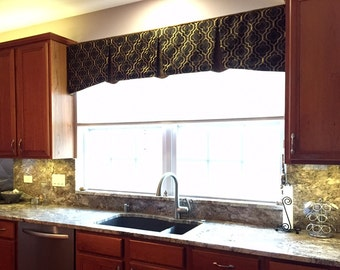 """Window Valance EMMA Hidden Rod Pocket Valance fits 45""""- 60"""" window, custom valance, made with your fabric, price includes LABOR and lining"""