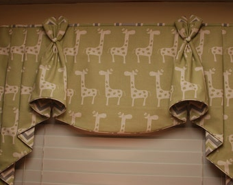 """BUNNY EARS Hidden Rod Pocket Valance with jabots fits 32""""- 44"""" window, made using your fabric, my LABOR and lining"""