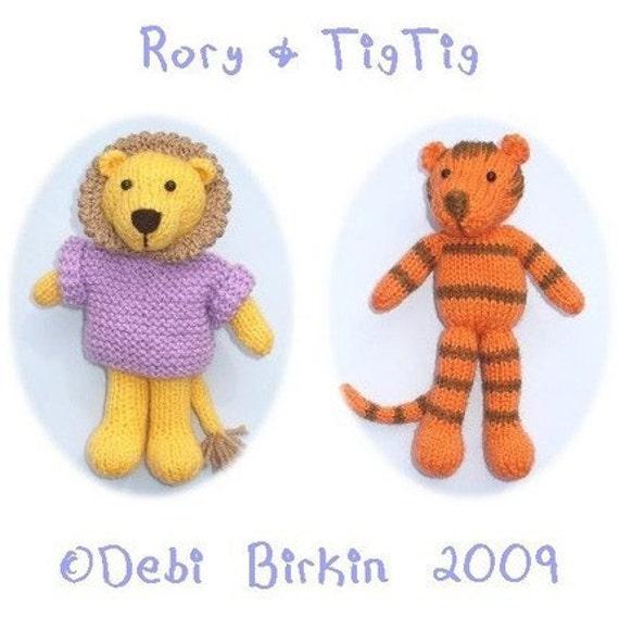 Lion Tiger Cat Pdf Email Toy Knitting Pattern Etsy