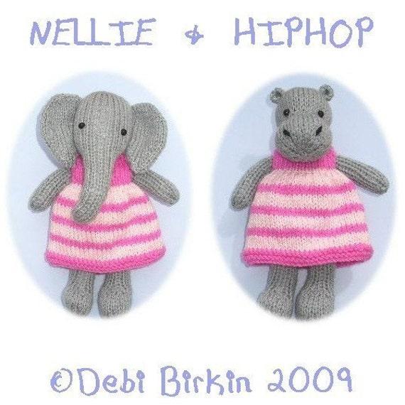 Hippo Elephant Pdf Email Toy Knitting Pattern Etsy