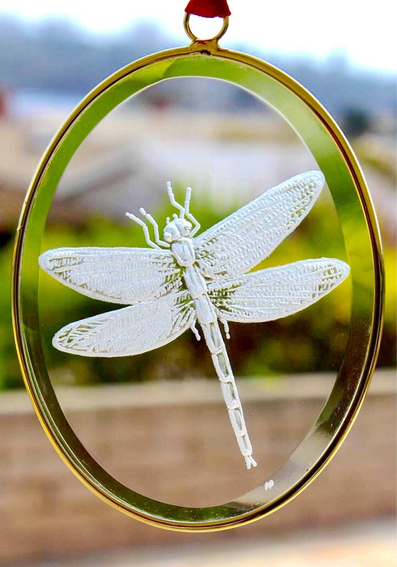 Crystal Dragonfly Ornament, dragonfly Gifts, Engraved Ornaments, Glass Engraved Gifts, custom ornaments