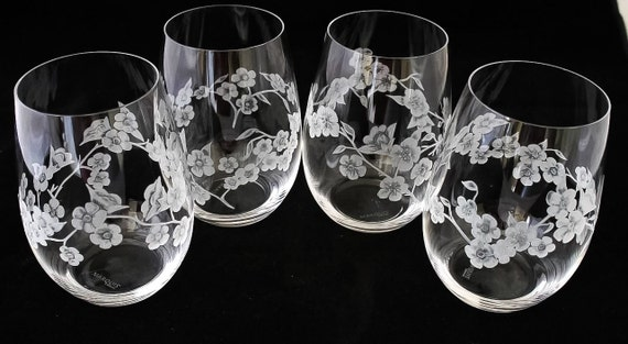 Hand Engraved Cherry Blossoms set of 4, Cherry Blossom, Stemless Wine Glass, Floral, Mothers Day Gift, Crystal gifts