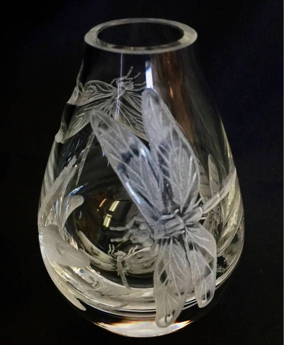 Hand Engraved crystal mini bud vase dragonflies, hand engraved, hand carved, house warming, Hand etched dragonflies, House Warming Gifts,