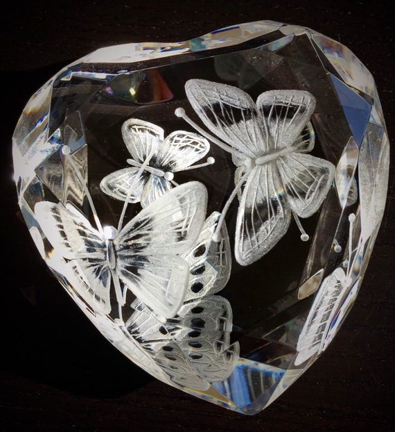 Butterfly heart, love, glass, gift, red, romance, bespoke, personalized, etched, paperweight, bridal, wedding, rosenthal heart, butterflies