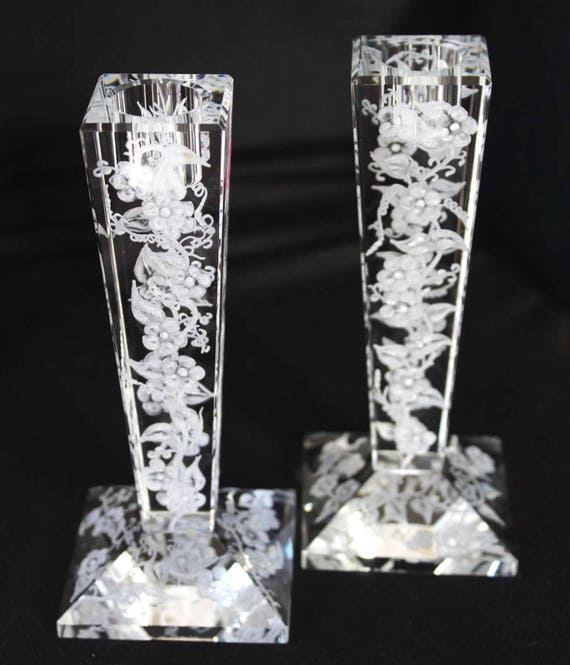 Hand Engraved Candlesticks, Oleg Cassini, Engraved Glass, Crystal Candlesticks, Etched Glass, Home Decor Centerpiece