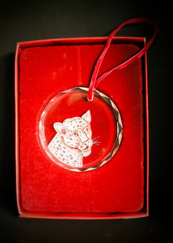 Crystal ornament,HandEngraved, Engraved, engraved glass, gifts, valentine, boxed, love, personalized, bespoke, leopard