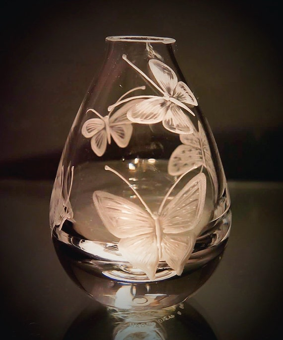 Vase, engraved butterfly, hand engraved, hand carved,bridal, wild, glass, crystal, rose, etched, Giraffe, african art,